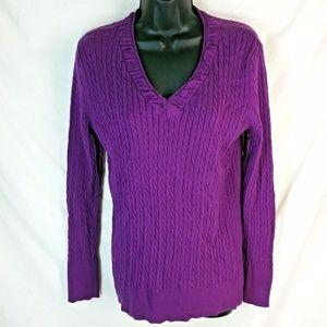 🎁 Eddie Bauer • Purple Cable Knit Sweater